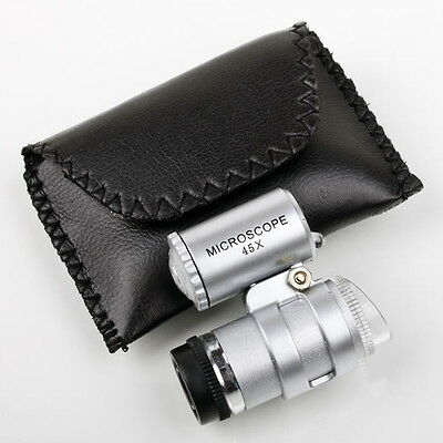 45X Pocket Loupe Mini Microscope, Coins Stamps Jewelry Magnifier LED 5