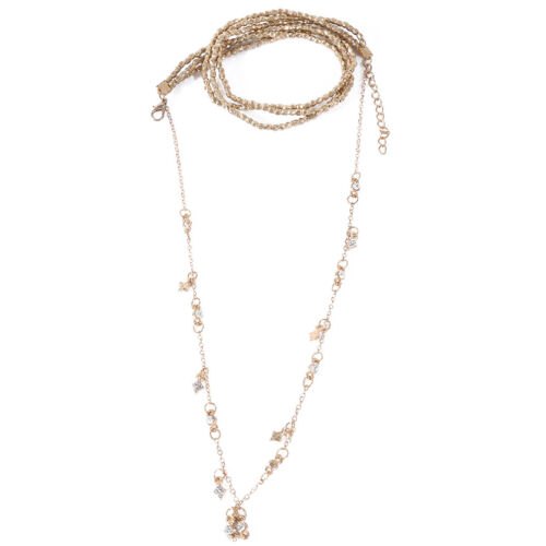 Gold Toned Double Layer Beaded Chain Choker Necklace Stars Pendant Jewelry LG 5