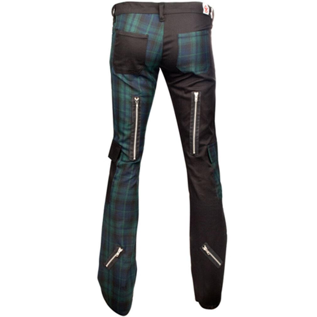 Freak Pants Rot Tartan Black Pistol Punk Gothic Festival Jeans Hose