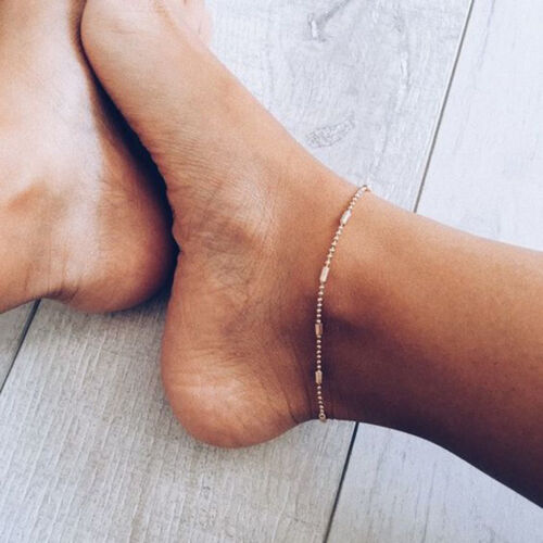 3pcs Simple Silver Gold Womens Ankle Bracelet Anklet Foot Chain Beach Beads S