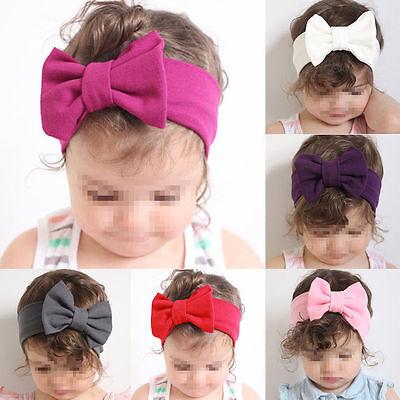 Girls Kids Baby Cotton Bow Hairband Headband Stretch Turban Knot Head Wrap New 2