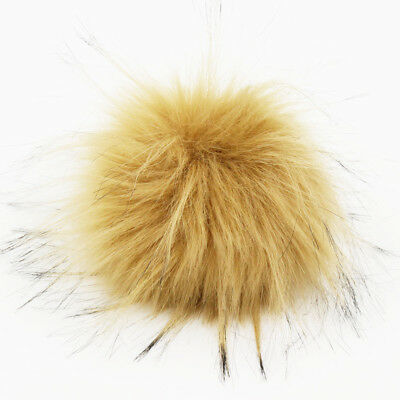 DIY 4.3inch Faux Raccoon Fur Pom Poms Ball for Knitting Beanie Hats Accessories 2