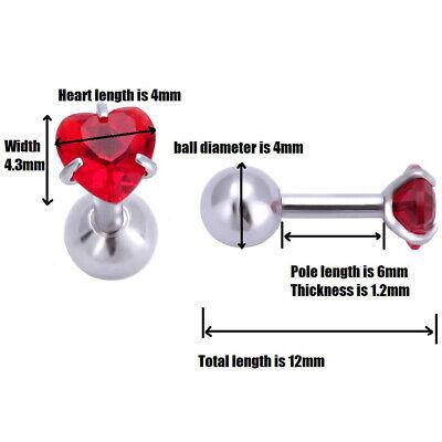 Surgical Steel Heart Crystal Daith Tragus Stud Cartilage Helix Stud Bar Earrings 2