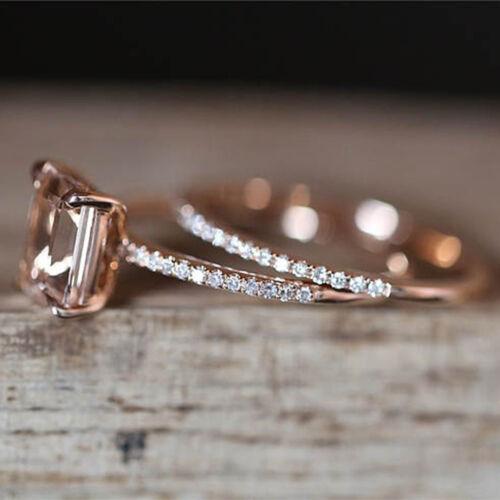2pcs Platinum Plated Square Cubic Zirconia Engagement Finger Rings YU 2