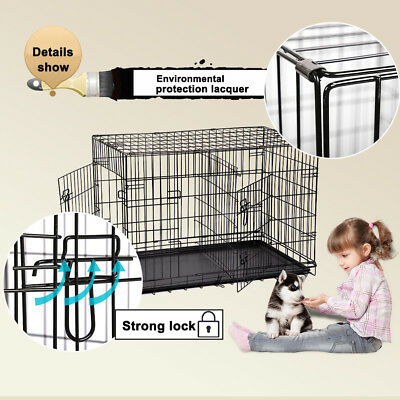 """Refurbished 36"""" Folding Suitcase Dog Cat Crate Cage W/Divider Kennel Pen W/Tray 3"""