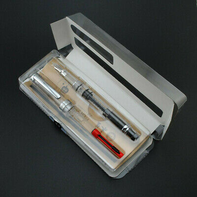 Wing Sung 698 Transparent Piston Fountain Pen Office Extra Fine Nib F/EF Writing 9