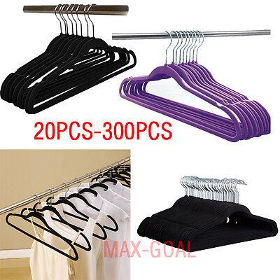 LOT 300 Flocked Non Slip Velvet Black Purple Cloth Suit//Shirt//Pants Hangers