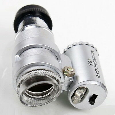 45X Pocket Loupe Mini Microscope, Coins Stamps Jewelry Magnifier LED 4