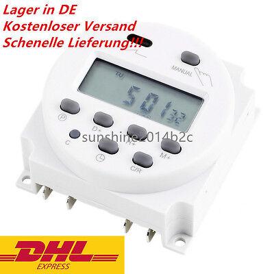 Zeitschaltuhr DC/AC 12V 16A LCD Digital-Display Programmierbar Timer OVP Neu FL 2