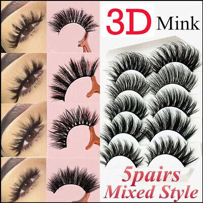 5Pairs 3D Natural False Eyelashes Long Thick Mixed Fake Eye Lashes Makeup Mink 2