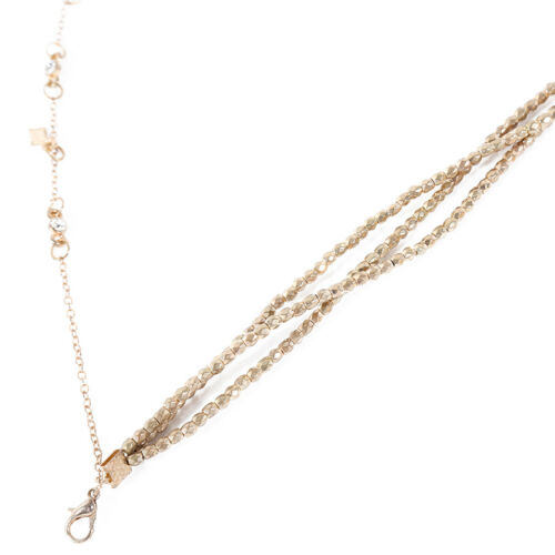 Gold Toned Double Layer Beaded Chain Choker Necklace Stars Pendant Jewelry LG 4