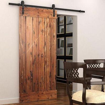 5FT Black American Country Wood Sliding Barn Door Hardware Track Set Modern WP 8