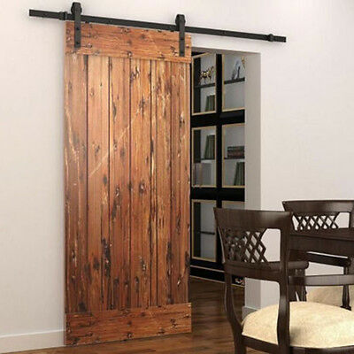 5FT Rustic Antique Hanging Rail Style Sliding Barn Wood Door Flat Track hardware 7