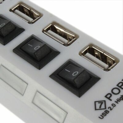 4/7-Port USB 2.0 Hub w/ High Speed Adapter ON/OFF Switch for Laptop PC Splitter 10