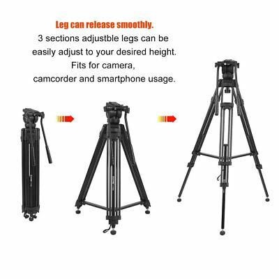 ZOMEI VT666 Professional Video Camera Tripod with Fluid Pan Head For Camcorder B 8