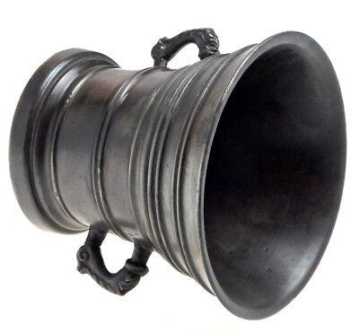 Mortar Großer Bronze Glocken Mörser Delphin Henkel Schlesien Pistill Um 1650