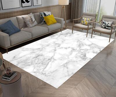 FLOOR RUG MAT White & Gray Marble Style Bedroom Carpet Living Room Area  Rugs NEW