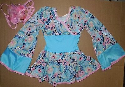 54ee6e895 ... 7 NWT Dance Costume Asian Oriental Japanese Kimono style Blue Floral ch/ Ladies 4