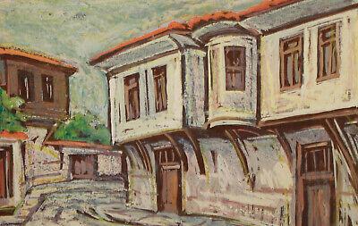 Vintage impressionist pastel painting cityscape village 3