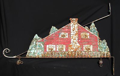 Antique Iron and Painted Tin Sign Hanging Bracket 3