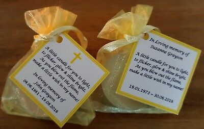 Funeral Personalised Remembrance & any occasion candle favours. Light in memory 11