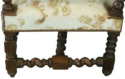 Settee Renaissance Hunting French Antique 1880 Carved Oak  Floral Uph 11