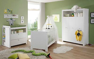Wickelkommode weiß blau rosa Baby Wickeltisch Set mit 2x Regal Babyzimmer Olivia