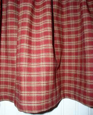 1 Of 3FREE Shipping Berry Red Plaid Valance Tiers Primitive Country Curtains  Runner Kitchen Valance