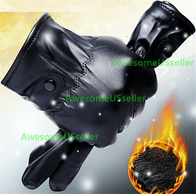 Men Women Winter Gloves Touch Screen Windproof Waterproof Leather Thick Snow USA 2