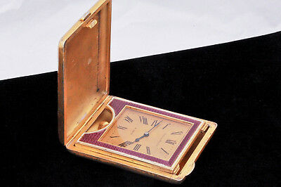 c. 1900 Udall & Ballou Gilt Sterling Guilloche Enamel 8 Day French Travel Clock 6