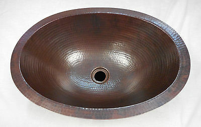"19"" Oval Hammered Drop In or Undermount Copper Bath Sink 2"