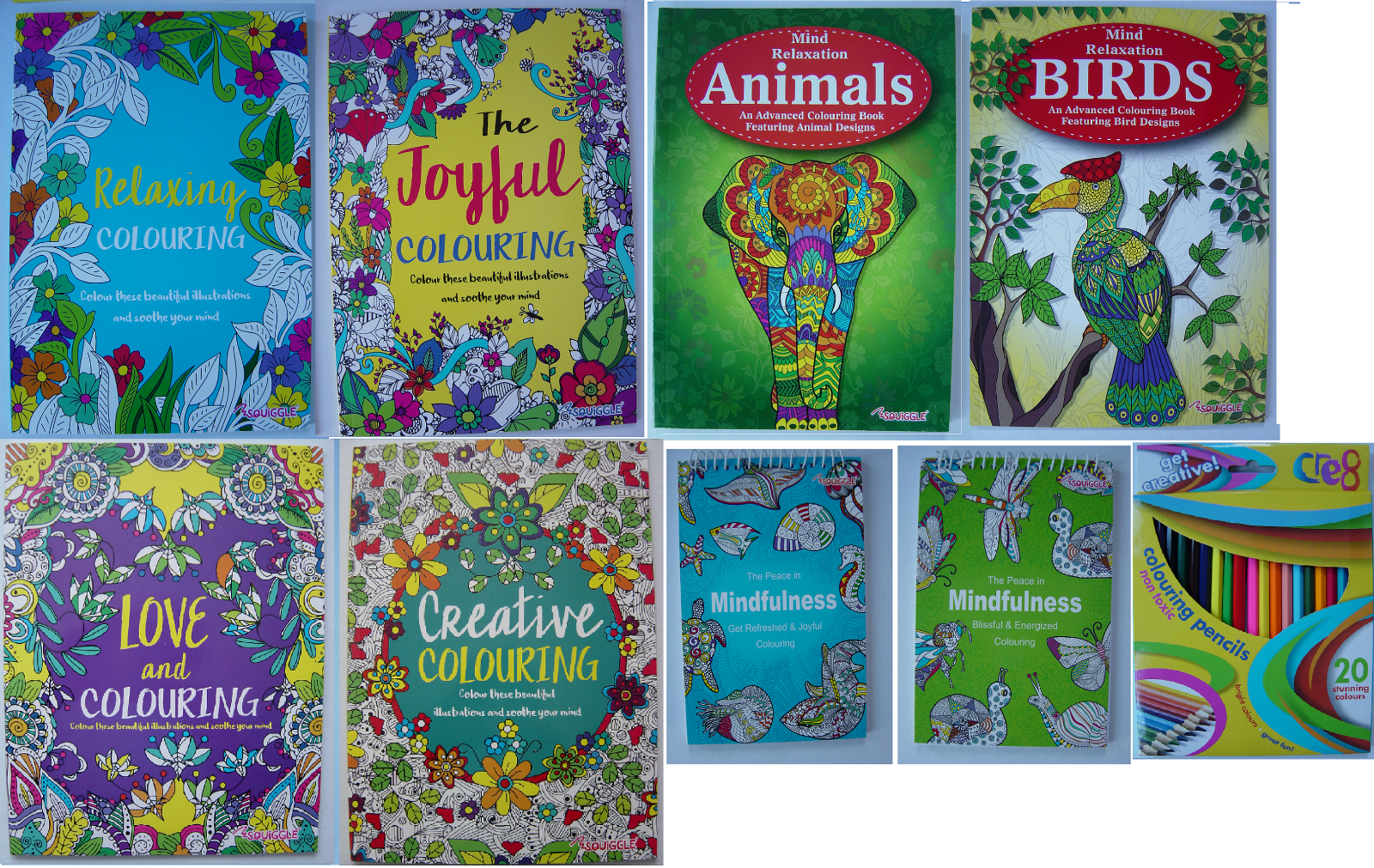Adult Colouring Book Mind Relaxing stress relief therapy good quality, 14 books 10