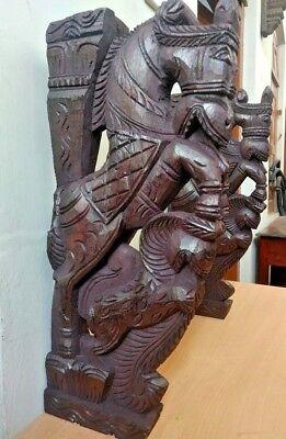 Wall Corbel Pair Wooden Horse Sculpture Bracket Gargoyle Statue Home Decor Rare 2