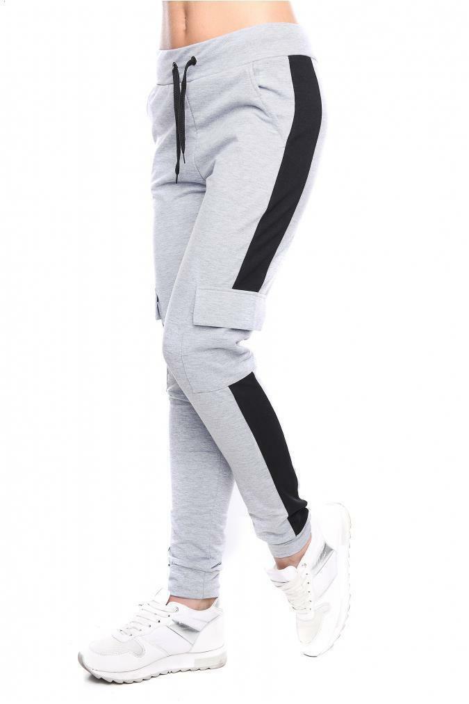 Damen Sportlich Hose Harlem Aufdruck Taschen Freizeit Jogginghose FZ09