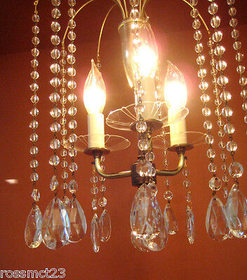 Vintage Lighting 1950s Eames Mid Century Hollywood Regency crystal chandelier 3