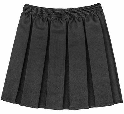 New Girls School Skirts Box Pleated Elasticated Waist Skirt Kids School Uniform 3