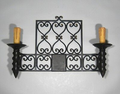 "Large Vintage French Wrought Iron Sconce, ""Chateau"" Style, 19 x 13 inches 4 • CAD $439.74"