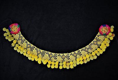 Gelber Tribal Perlengürtel mit Bommeln, Handarbeit, Vintage 79 cm, Boho, Hippie 5