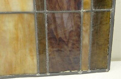 GEOMETRIC RECTANGULAR LEADED-STAINED GLASS WINDOW~Art Deco 22x15~HEAVY OBSCURITY 10