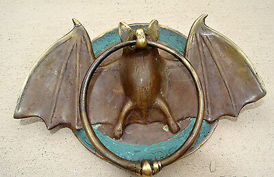 "Door Knocker BAT ring heavy front SOLID pure BRASS vintage antique style 7"" B 2"