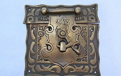 """4 box Latch catch solid brass furniture antiques doors kitchen old style 3"""" B 2"""