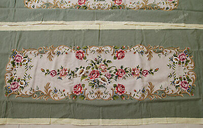 Light Olive Victorian Blooming Roses VTG Reproduction Chair Sofa Cover Sets 3