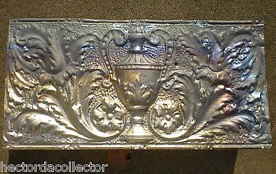 Antique Victorian Ceiling Tin Tile Acanthus Flowers Urn Leaves Cottage Chic 5