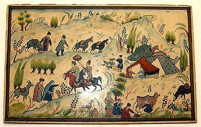 Antique Persian Handmade Miniature Painting Islamic Artwork Rural Scene