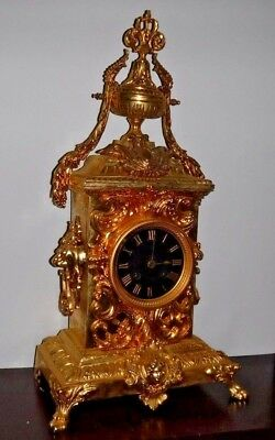 Rare Beautiful French Japy Frere Antique Gilt 8 Day Chime Clock Working 6