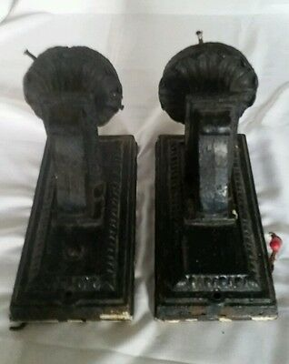 Pair Architectural Salvage Cast Iron Gothic Wall Sconces Light Fixtures SPOOKY 5