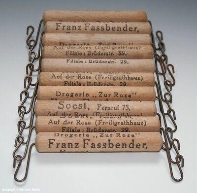 10 x Holzgriffe bzw. Tragehilfe für Tüten mit Drogerie Reklame um 1900