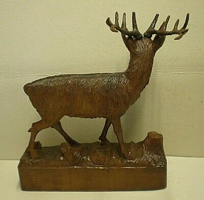 Large Antique Black Forest Stag Swiss Carving Signed 6