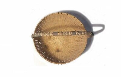 """VINTAGE 18"""" 1940's CHINESE BAMBOO & CANE HAND WEAVED BASKET w LID NAME on HANDLE 10"""