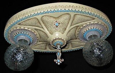 1 Vtg Art Deco Era Victorian Cast Ceramic Flush Mount Chandelier Ceiling Fixture 2